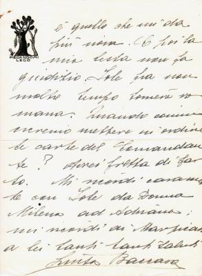 lettera di D'Annunzio a Brozzi